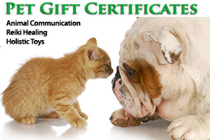 pet gift certificates in any dollar amount for animal communicator and Animal Reiki services