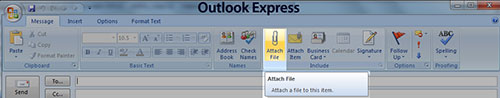 Screenshot showing Outlook Express Email Attach Paper Clip Icon