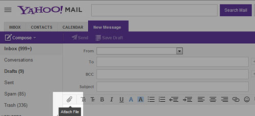 Screenshot showing Yahoo Mail Attach Paper Clip Icon
